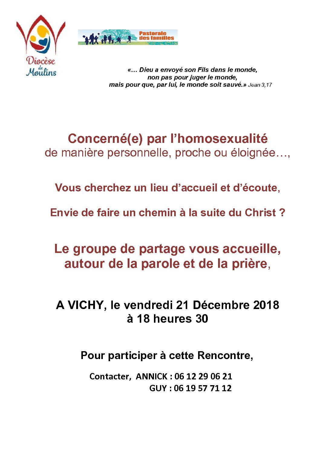 Groupe d'écoute et de partage diocésain pour les personnes concernées par l'homosexualité (parents ou personnes)