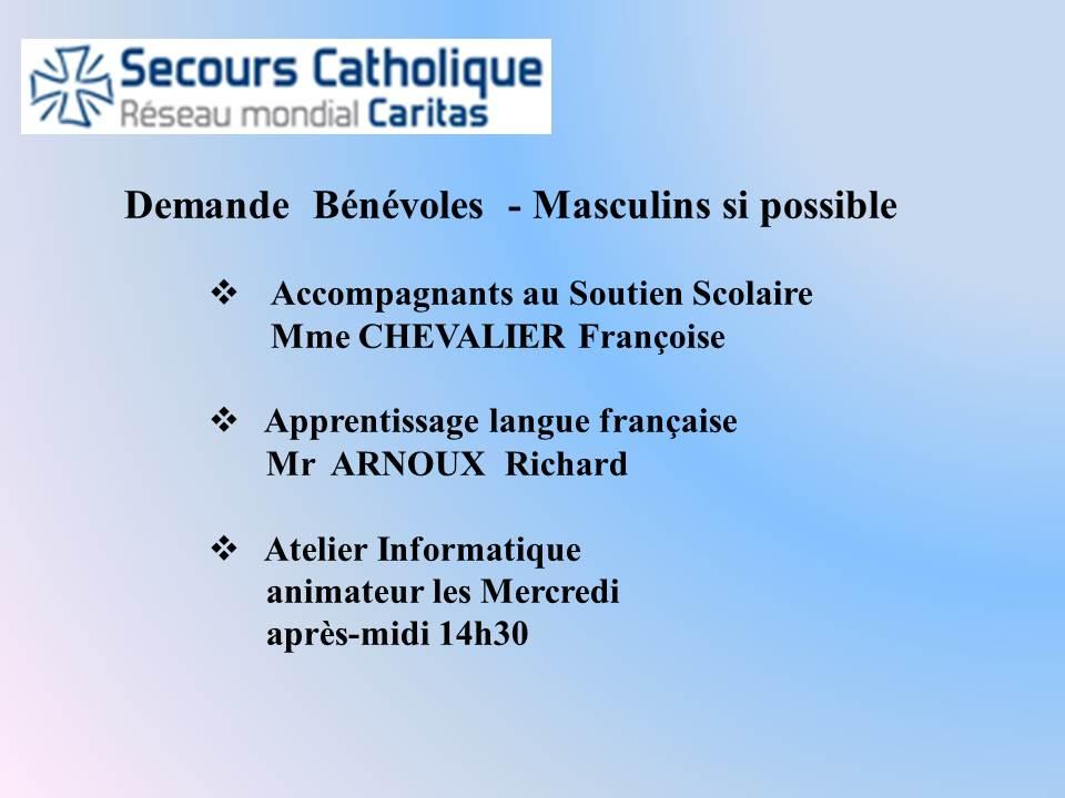 Demande Bénévoles Secours Catholique