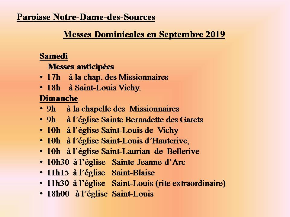 MESSES DOMINICALES EN SEPTEMBRE 2019