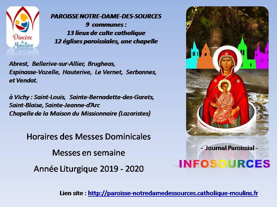 Nouvelle organisation des horaires des messes à partir du 2 novembre 2019