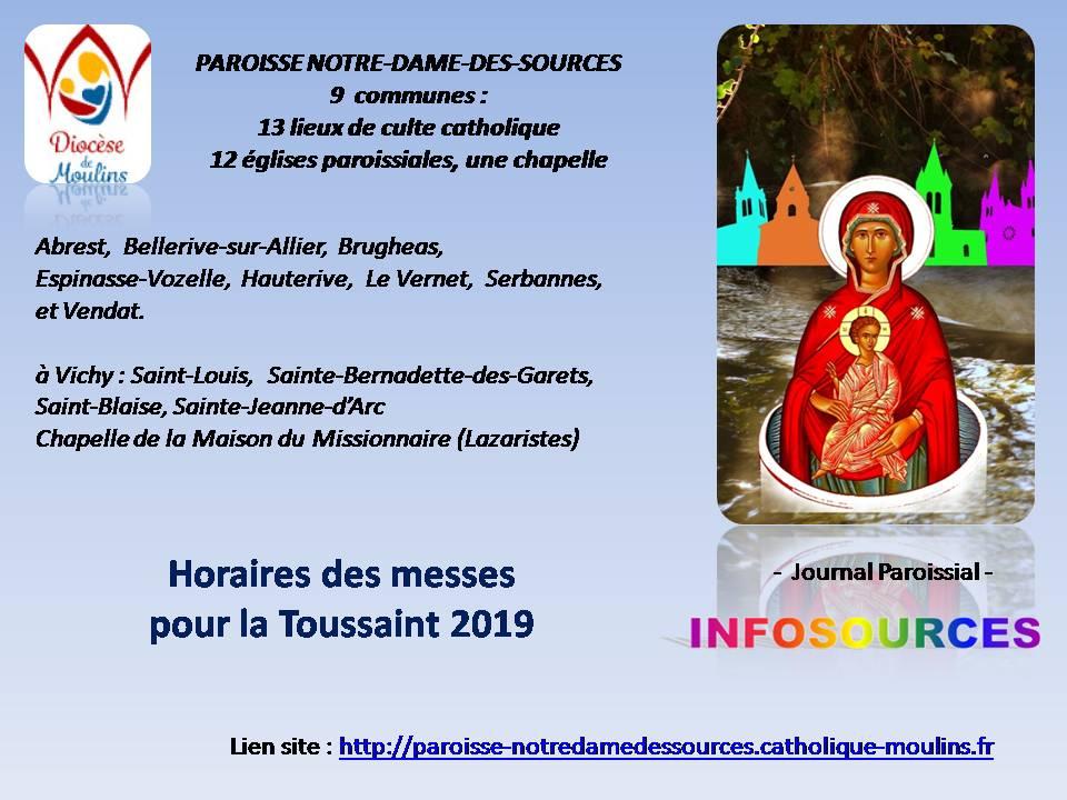 HORAIRES DE MESSES  POUR LA TOUSSAINT