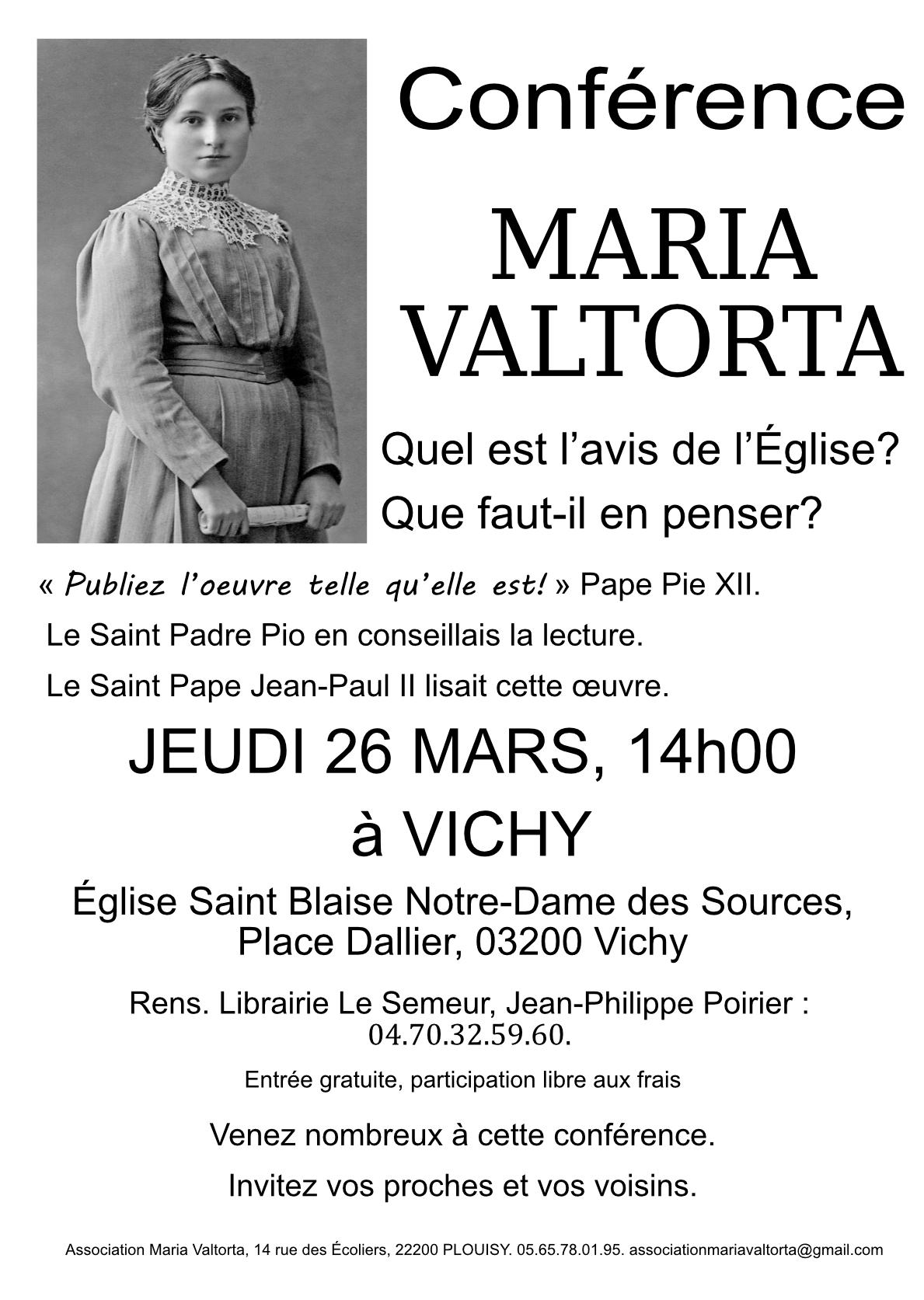 26 mars Conférence Maria Valtorta