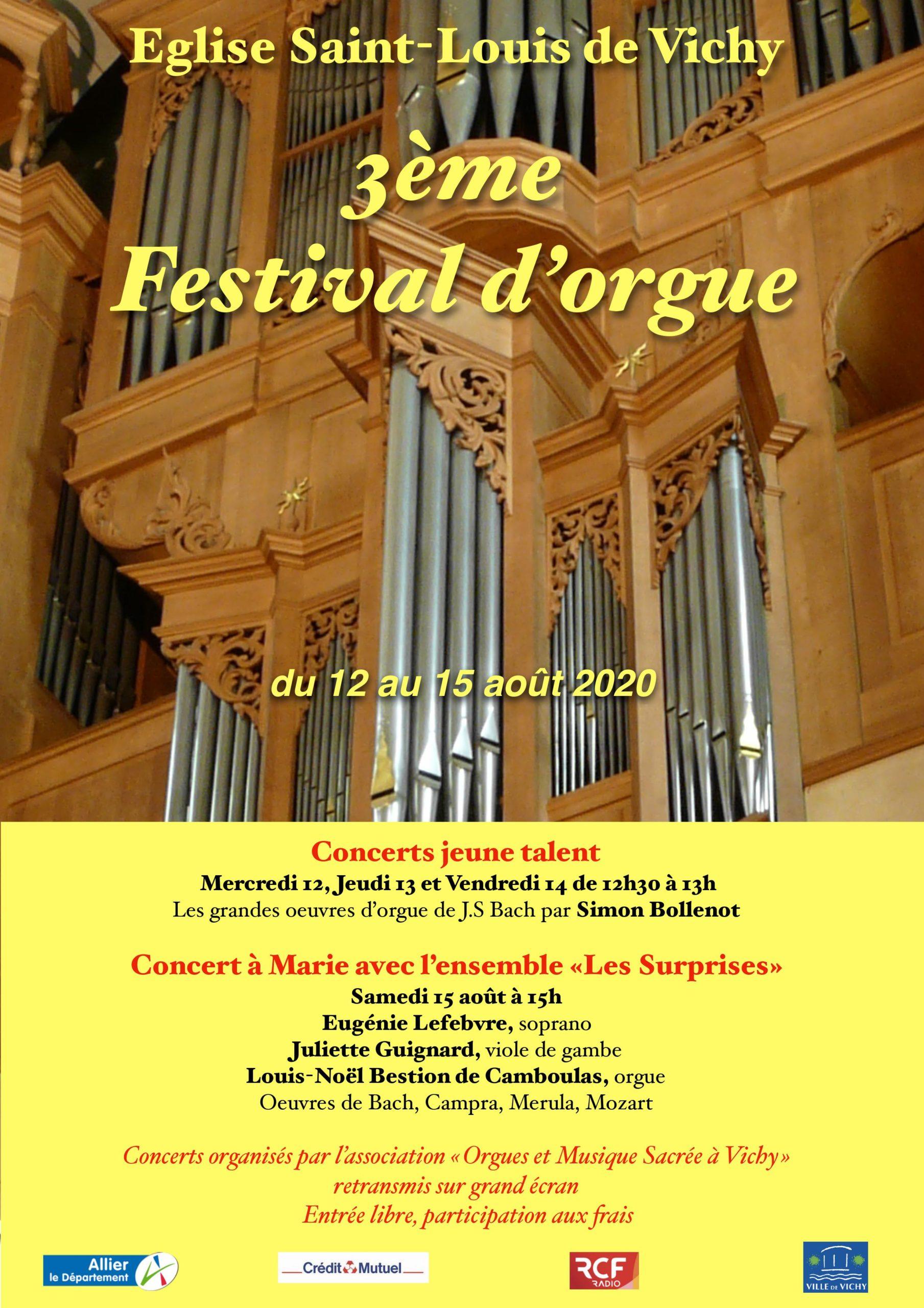 3ème Festival d'orgue les 12, 13, 14, 15 août  Église Saint-Louis