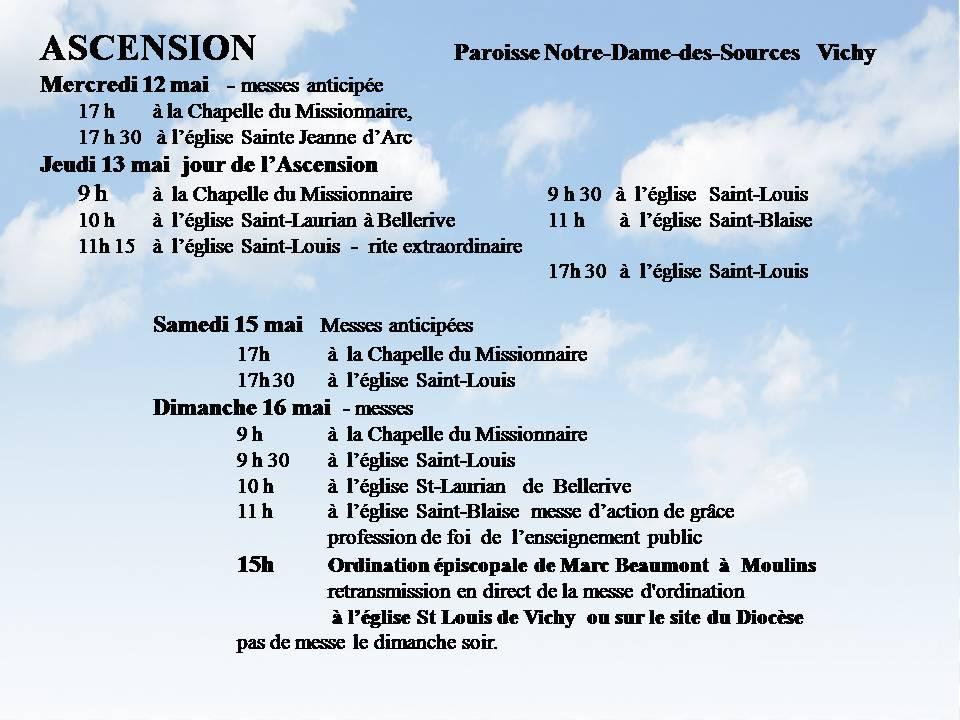 ASCENSION - HORAIRES DES MESSES  DU 12 MAI AU 16 MAI