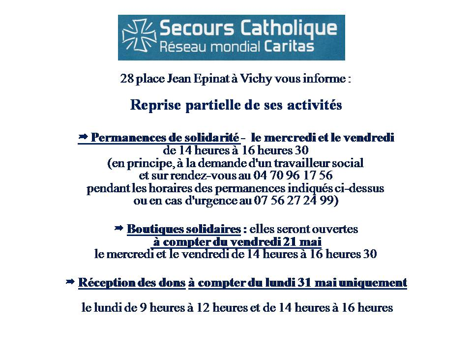 Réouverture partielle Secours Catholique
