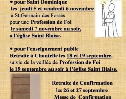 Report  des  Célébrations  :  Profession de Foi et Confirmation
