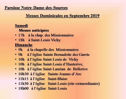 MESSES DOMINICALES EN SEPTEMBRE 2019